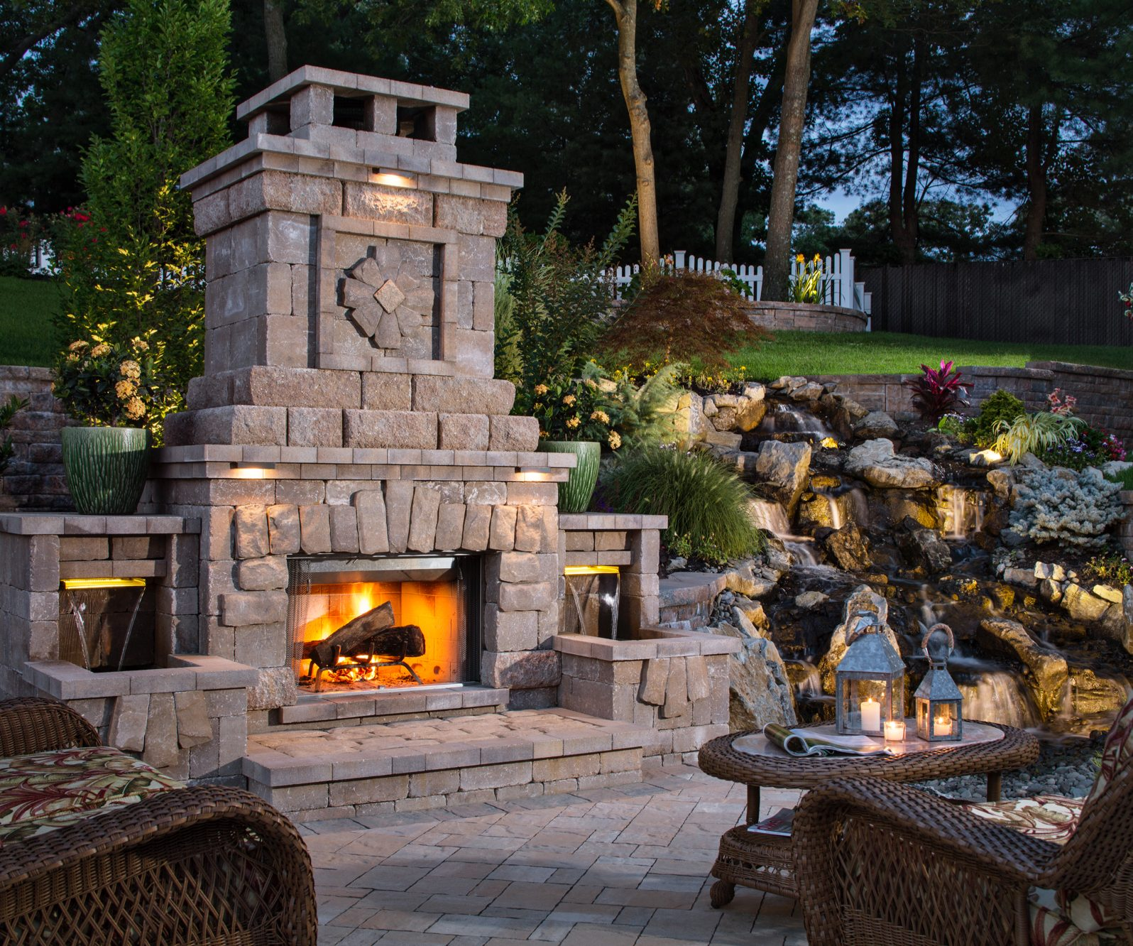 outdoor fireplace hardscapes and landscape lighting