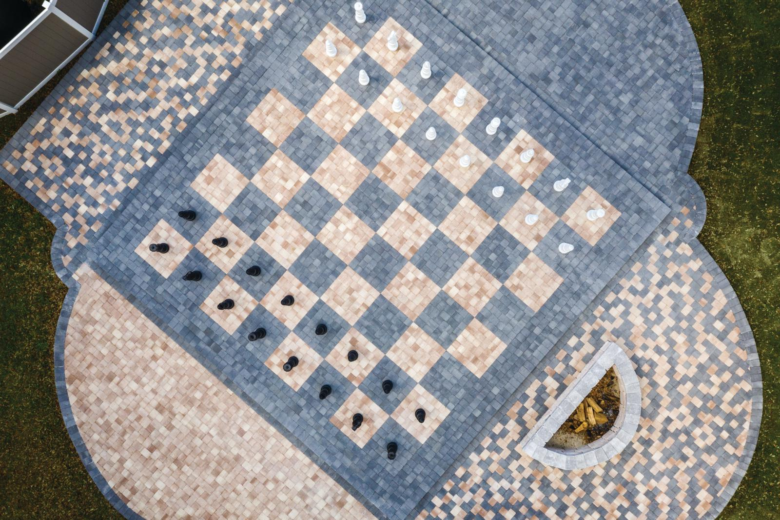 Life Size Custom Chessboard Fire Pit Patio