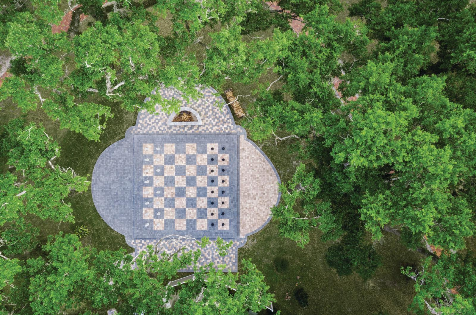Life Size Chessboard Fire Pit Patio Custom