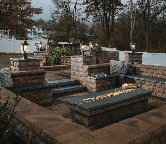 fire pit patio with built-in seating
