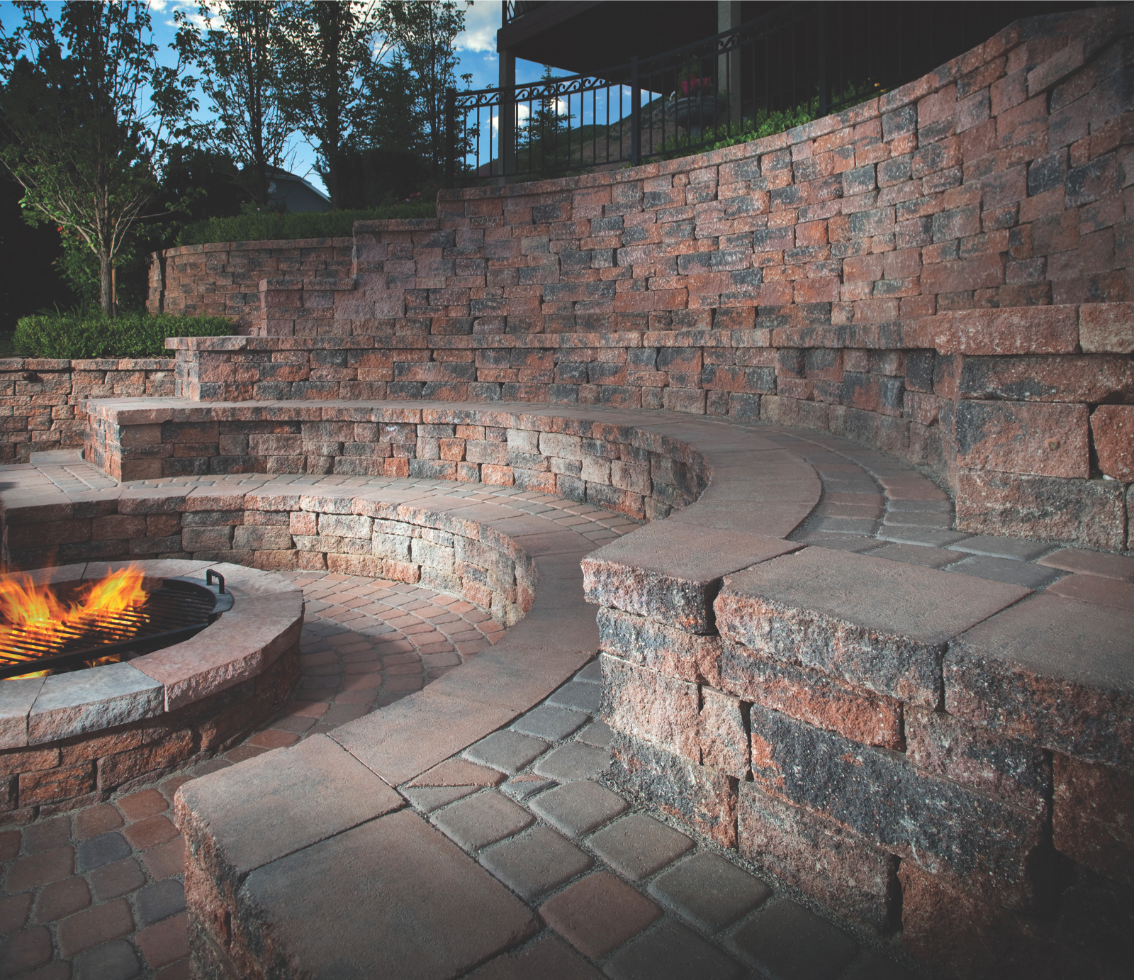 Custom Fire Pit Seating Wall Patio
