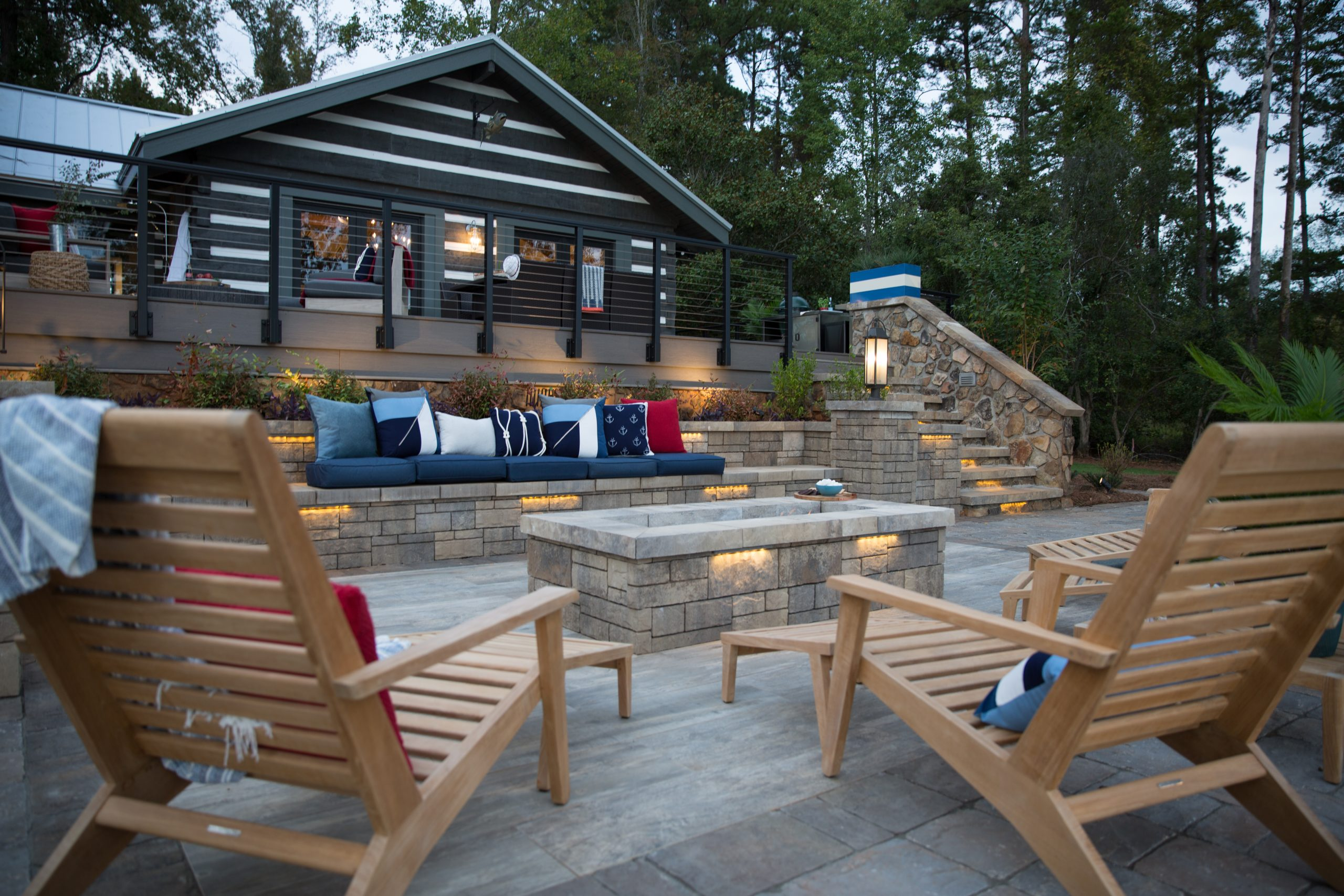 Fire pit patio and seat wall design ideas (Wade Works Creative)