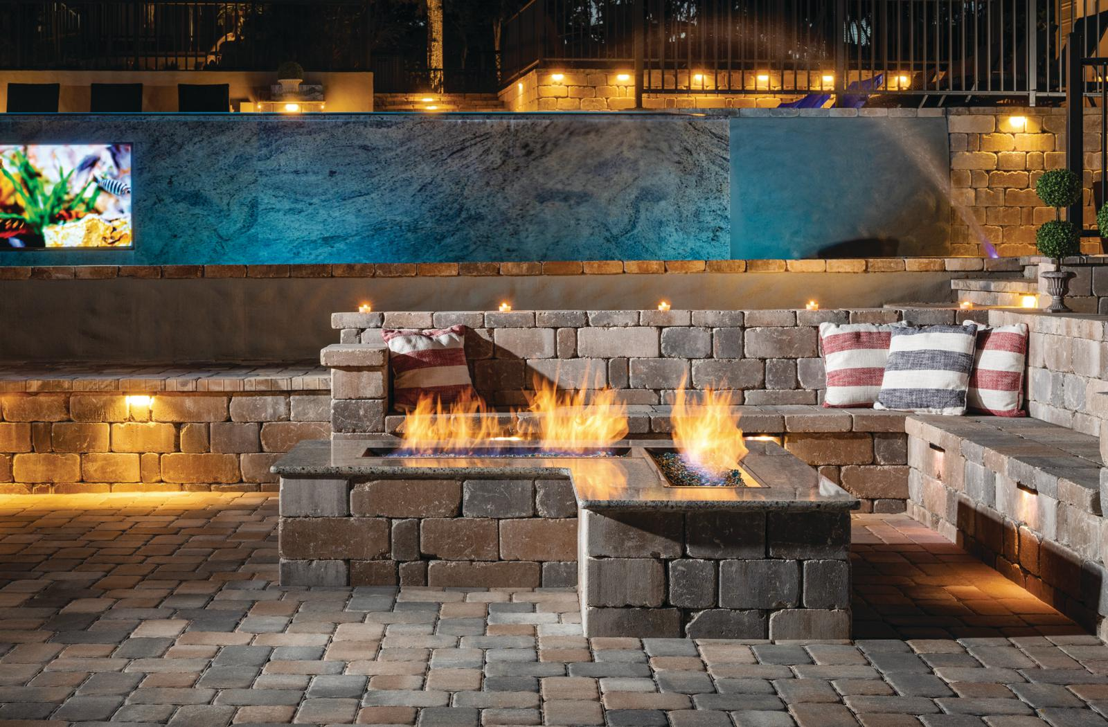 cobbled paver patio with custom fire table