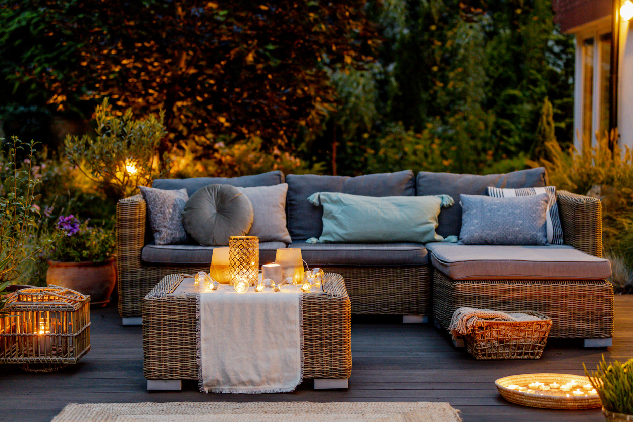 outdoor living space candles