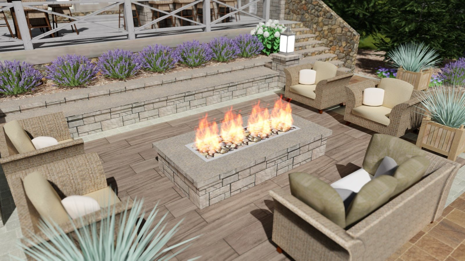Fire pit patio design rendering