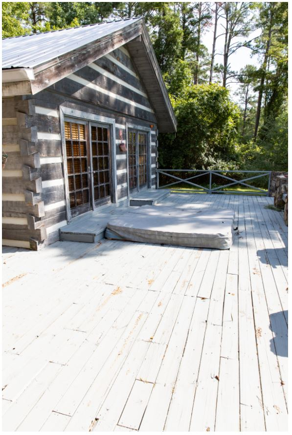 Rustic porch deck before and after